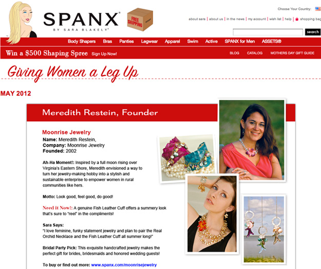 Moonrise Jewelry is endorsed by SPANX founder, Sara Blakely